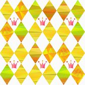 image of pageant  - seamless pattern with colorfull rhombus  and carnival crown by different forms and color stripes - JPG