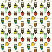 foto of tile  - Seamless pattern with hand drawn sketchy tea and coffee cups on lined notepaper background - JPG