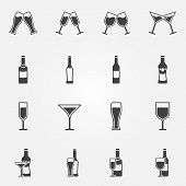 stock photo of alcoholic drinks  - Drink alcohol beverage icons  - JPG