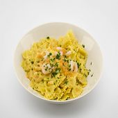 pic of butterfly fish  - italian traditional pasta called butterflies with shrimp salmon and basil - JPG