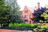 stock photo of brownstone  - Brownstone building in the middle of Toronto with nice yard - JPG
