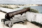 foto of coast guard  - Old Rusty Cannon Guarding the Portuguese Fortress Sagres Vintage Style Toned Picture - JPG