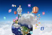 foto of blazer  - Suave man in a blazer against cloud computing graphic with hot air balloons - JPG
