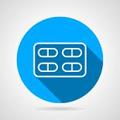 picture of blisters  - Flat blue round vector icon with white line blister with tablets on gray background - JPG