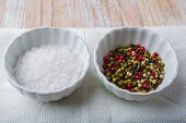 image of salt-bowl  - Salt and pepper in white bowls - JPG