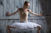 image of tutu  - Ballerina standing near a wooden wall on pointe in a tutu - JPG