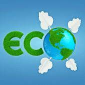 picture of interpreter  - Stylized interpretation of the logo Eco Planet with continents of cartoonish grass and trees out of paper - JPG