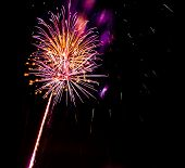 picture of firework display  - Colorful fireworks on the black sky background - JPG