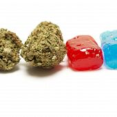 stock photo of medical marijuana  - Marijuana and Hard Candy Containing Medical Marijuana THC - JPG