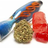 stock photo of weed  - Marijuana Bud and Weed Candy Containing THC - JPG