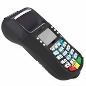 stock photo of automatic teller machine  - The terminal is black with white buttons - JPG
