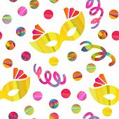 image of pageant  - seamless pattern with carnival masks different forms and color stripes confetti - JPG