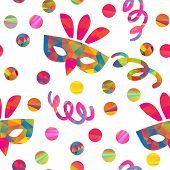 picture of pageant  - seamless pattern with carnival masks different forms and color stripes confetti - JPG