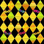 foto of pageant  - seamless pattern with colorfull rhombus  and carnival masks by different forms and color stripes - JPG