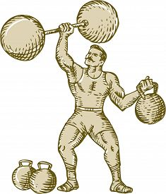 picture of strongman  - Etching engraving handmade style illustration of a strongman circus performer lifting barbell on one hand and kettlebell on the other hand set on isolated white background - JPG