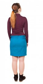 picture of jeans skirt  - back view of standing young beautiful  woman in jeans - JPG