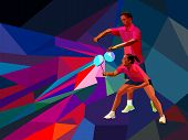 Постер, плакат: Badminton players mixed doubles team man and woman start badminton game