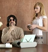 picture of pimp  - mustache retro businessman sexy blond secretary office - JPG