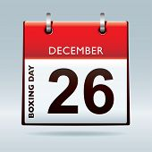 picture of boxing day  - Simple red and white boxing day calendar icon - JPG