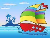 stock photo of sail-boats  - Cartoon sailboat near small island  - JPG