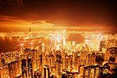 Постер, плакат: Гонконг города ночью