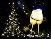stock photo of wine-glass  - Merry Christmas background gold and blue with glasses - JPG