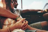 Affectionate Young Couple On A Road Trip poster