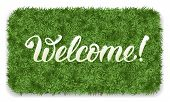 Welcome. Doormat of the green grass with calligraphic inscription Welcome. Isolated on white backgro poster