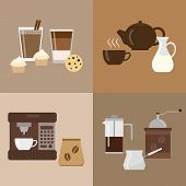 Постер, плакат: Different flat coffee icons