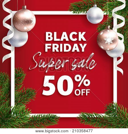black friday sale vector flyer template realistic illustration web banner super sale - Black Friday Christmas Tree Sale