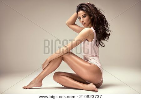 poster of Sensual Attractive Lady Posing In Studio.