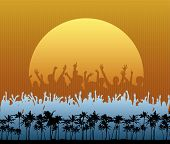 picture of beach party  - A crowd in silhouette dances and cheers in front a large setting sun on the beach - JPG