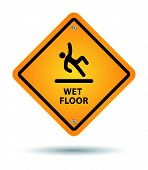 picture of slip hazard  - yellow wet floor sign for caution fall - JPG