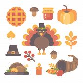 Set Of Thanksgiving Flat Icons On White Background. Various Autumn Items poster