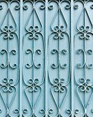 picture of wrought iron  - The blue iron gate in background texture - JPG