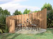 Arbor With Furnitures In Sunny Day 3D Rendering poster