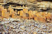 foto of dogon  - Ancient Dogon and Tellem houses on the Bandiagara escarpment in Mali horizontal - JPG