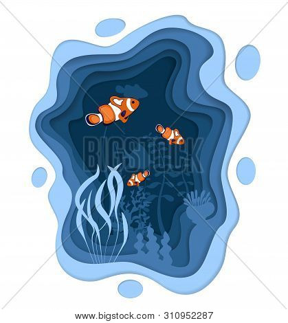 poster of Underwater World Design With Coral Reef Fishes In Paper Cut Style. Exotic Aquarium Vector Illustrati