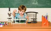 Discover Liquids. Practical Knowledge Concept. Study Grants And Scholarship. Boy Performing Chemistr poster
