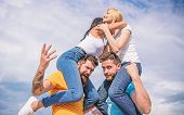 Friendship Of Families. Couples In Love Having Fun. Men Carry Girlfriends On Shoulders. Summer Vacat poster