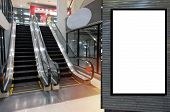 Blank Showcase Billboard Or Advertising Light Box For Your Text Message Or Media Content In Front Of poster