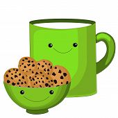 Cute Tea Cup Character.sweet Teabag With Cute Faces. Emoji Doodle Objects.cute Tea Bag Set. Cup Emoj poster