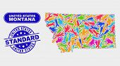 Tools Montana State Map And Blue United States Standard Scratched Seal Stamp. Colorful Vector Montan poster