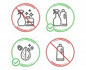 Do Or Stop. Cleanser Spray, Shampoo And Spray And Dirty Water Icons Simple Set. Shampoo Sign. Washin poster