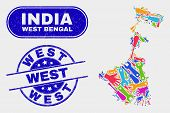 Construction West Bengal State Map And Blue West Scratched Seal Stamp. Bright Vector West Bengal Sta poster