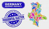 Assemble Saxony-anhalt Land Map And Blue Presidential Election Grunge Seal Stamp. Colorful Vector Sa poster