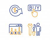 Buying, Survey Results And Dollar Exchange Icons Simple Set. Repairman Sign. E-commerce Shopping, Be poster