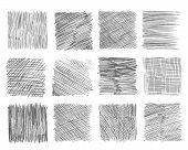 Sketch Hatching. Pen Doodle Freehand Line Strokes Chalk Scribble Black Line Sketch Grunge Handmade V poster