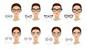 Female Glasses Shapes In Accordance With The Shape Of The Face. Eight Face Shapes With Options For S poster
