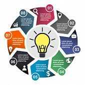 8 Step Vector Element In Eight Colors With Labels, Infographic Diagram. Business Concept Of 8 Steps  poster